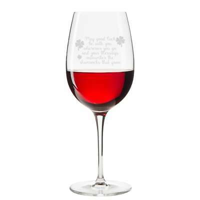 May Good Luck Be With You Engraved 18 oz Wine Glass