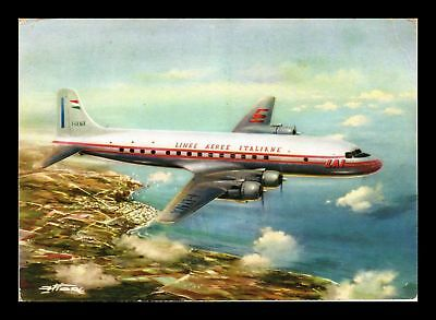 Dr Jim Stamps Lai Italian Airlines Dc 6B Airplane Continental Size Postcard