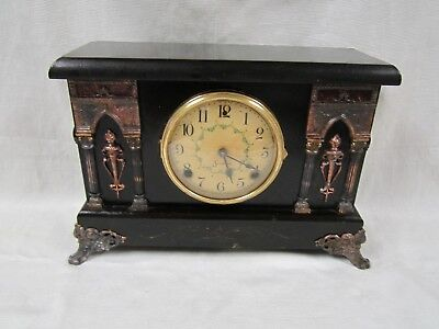Antique Vintage Sessions 8 Day Adamantine Chiming Mantle Clock Works Well Nice