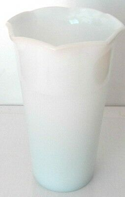 """FINE 50's COLLECTIBLE HAZEL ATLAS MILK WHITE 7"""" TALL FLOWER VASE WITH FLARED TOP"""