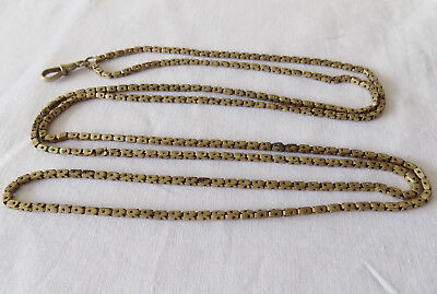 """Beautiful Victorian Gold Plated Guard Muff Chain with Stars & Dog Clip 52"""" long"""