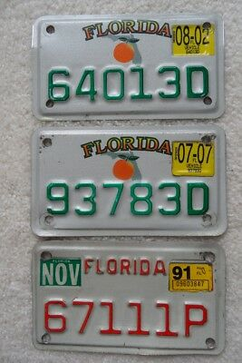 Florida (3) Motorcycle License Plates– Look