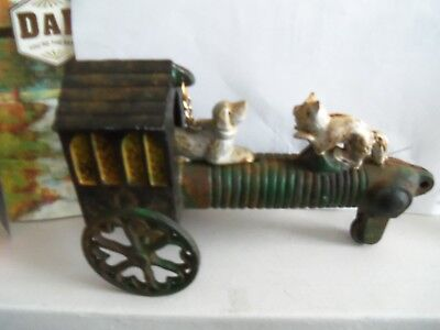Old vintage antique cast iron Dog/ Cat/ House- Moving Dog action