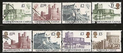 UK Scott # 1230-32 & 1445-48 Photographs of castles by prince andrew. Used