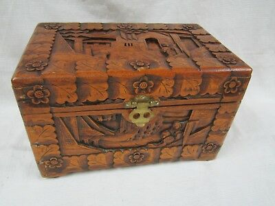 Vintage Chinese Hand Carved Camphor Wood Good Luck Chest