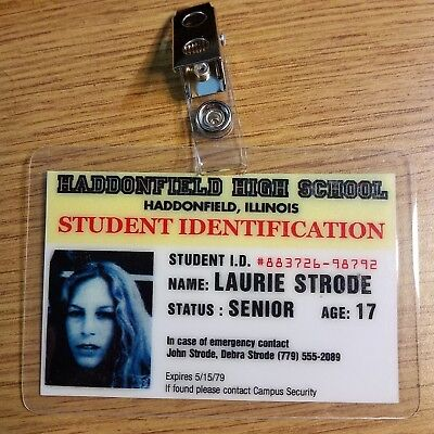 Halloween Movie ID Badge Laurie Strode Student Id Costume Cosplay Prop