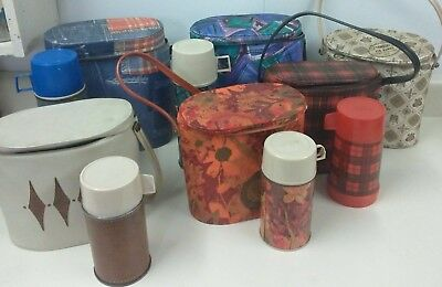 Vintage Lot of 6 THERMOS Lunchboxes / Bags with Metal Thermoses