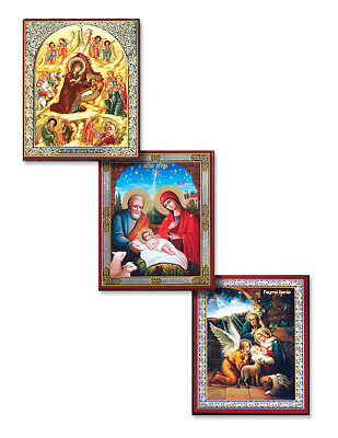 Russian Nativity Icon Set of 3 Holy Family Gold Foil on Wood Christmas 3 Inch