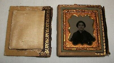 Antique Small 1/16th plate Ruby Ambrotype Photo in Damaged Case Vintage