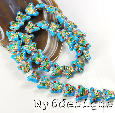 "10x15x6mm Turquoise Blue Cloisonne Butterfly Spacer Loose Beads 15"" (OT196)a"
