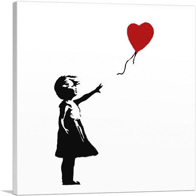 ARTCANVAS Girl with Balloon (white background Square) Canvas Art Print by Banksy