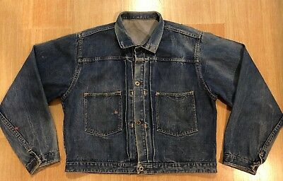 Vintage Pleated Denim Jean Jacket Selvedge Montgomery Ward? Sears? Levis?
