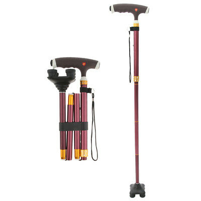 Adjustable Lightweight Easy Fold Aluminum Walking Stick Canes Quad