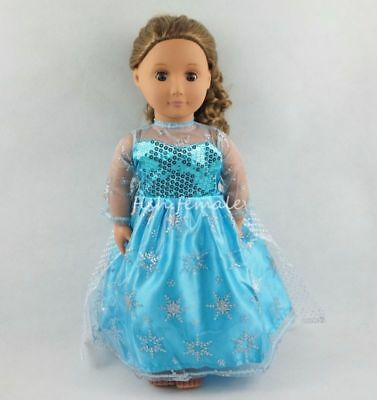 Snowflake Pattern Blue Yarn Skirt Dress For 18''American Girl Doll Clothes Gifts