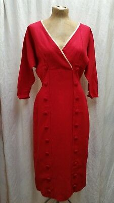 Vintage 1950's Red Linen White Trim Dress by Mitzi Jordan Size Medium