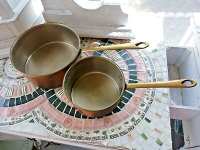 PAIR Vintage PATINA COPPER Sauce PANS Pots FRENCH COUNTRY Style