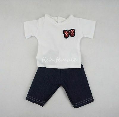Red Bowknot Pattern T-shirt & Jeans Fit For 18''American Girl Doll Clothes Gift