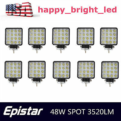 10X 48W LED Work Light Fog Lamp Truck OffRoad Tractor Spot Lights 12V 24V Square