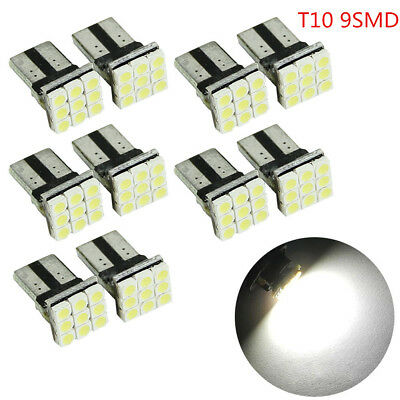 10Pcs Car Interior LED T10 Wedge 9-SMD W5W 2825 White License Plate Lights Bulbs