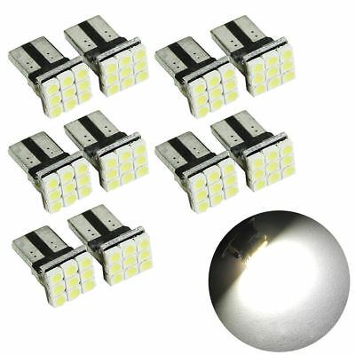 10* T10 LED 9SMD White Car License Plate Light Tail Bulb 2825 192 194 168 W5W
