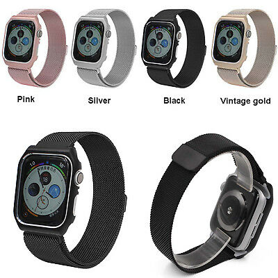 For Apple Watch iWatch 4 40/44m Milanese Stainless Steel Band Strap + Frame Case