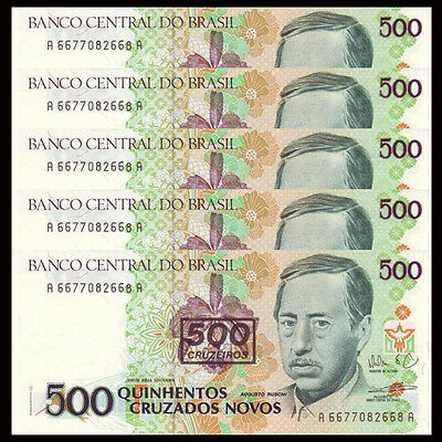 Lot 5 PCS, Brazil 500 Cruzeiros on 500, 1990, P-226b, UNC,  1/20 Bundle