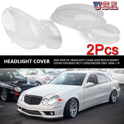 1pair Front Headlight Clear Lens Cover For Benz W211 E350/300/200 2002-2008