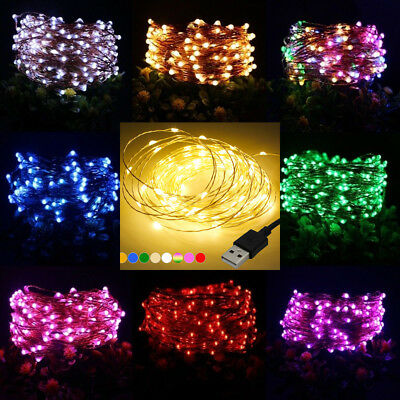 50/100LED USB LED Copper Wire String Fairy Light Strip Lamp Xmas Wedding Party