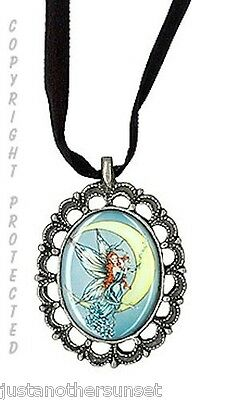 Moon Blossom Fairy Faery Pewter Cameo Necklace Pendant by Sabrina Ink Witch