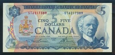 "Canada: 1972 $5 Lawson-Bouey ""SIR WILFRED LAURIER"". Pick 87b AUNC - Cat UNC $50"
