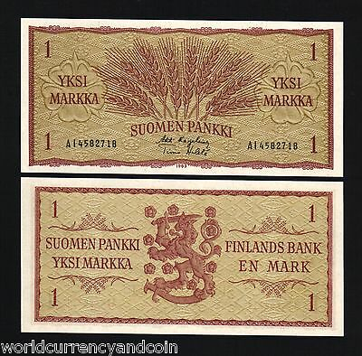 Finland 1 Markka P98 1963 X 100 Pc Lot Full Bundle Euro Wheat Ear Unc Money Note