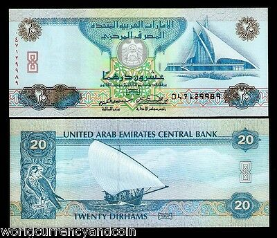 United Arab Emirates 20 Dirhams P21 1997 Sail Boat Golf Unc Yacht Currency Money