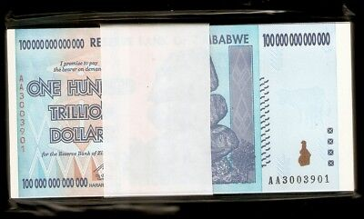 Full Bundle 100 Pcs Zimbabwe 100 Trillion Dollars 2008 AA 50 Trillion Series UNC