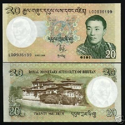 Bhutan 20 Ngultrum P30 2006 Lot Bundle King Dzong Dragon Unc Money Note 10 Bill