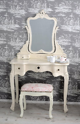 Dressing Table White Make-up Table Mirror With Stool Antique Style shabby