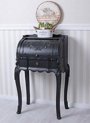 Desk Secretary black shabby chic table console rollbureau lady dresser vintage