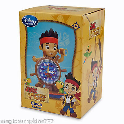 New DISNEY STORE JAKE & THE NEVERLAND PIRATES and Skully Sculptured Figure Clock