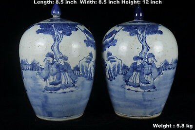 Chinese Beautiful Pair Blue and White Porcelain Characters Tea Caddies