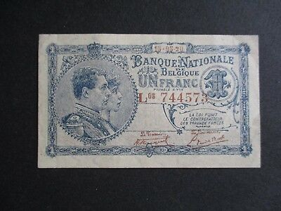 1920 Belgium 1 One Franc Banknote Note