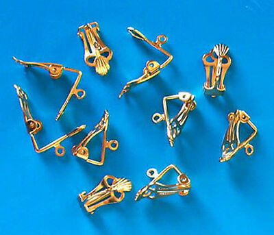 5 pairs of large gold plated clip on earrings, findings for jewellery making