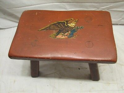 Vintage Cushman Decorated US Sheild Eagle Wooden Foot Stool Bench Colonial Badge
