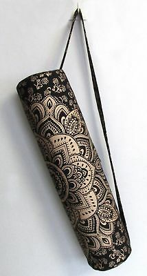 79b7a01a90b1 Handmade Indian Mandala Black Golden Yoga Mat Carrier Bag With Shoulder  Strap
