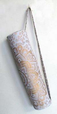 ed499a24c575 Indian Handmade Mandala White Golden Yoga Mat Carrier Bag With Shoulder  Strap