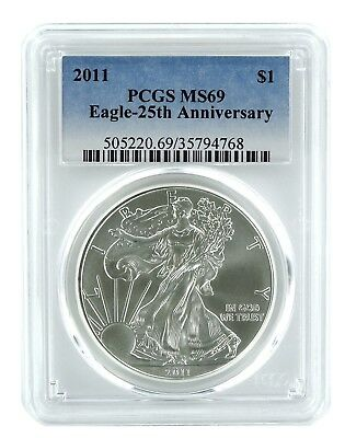 2011 1oz American Silver Eagle PCGS MS69 - Blue Label