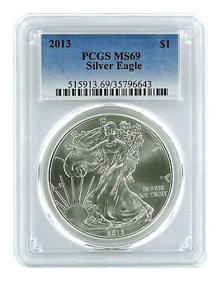 2013 1oz American Silver Eagle PCGS MS69 - Blue Label