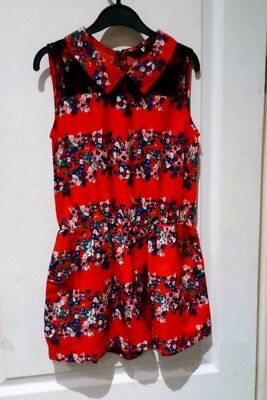 Very Girls Red Floral Shorts Playsuit Age 10 Years