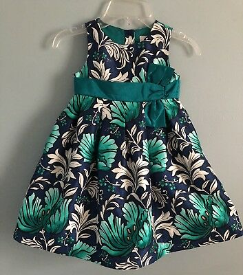 Gymboree Girls Green/blue Floral Holiday Dress. Size 4T