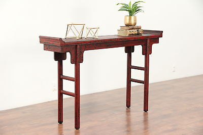Chinese Vintage Crackle Lacquer Altar or Sofa Table, Hall Console #29786