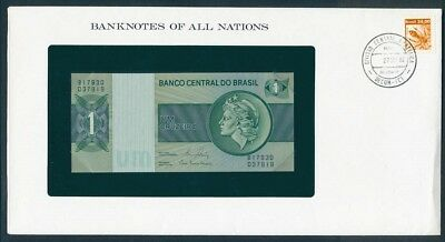 Brazil: 1980 1 Cruzeiro Banknote & Stamp Cover, Banknotes Of All Nations Series