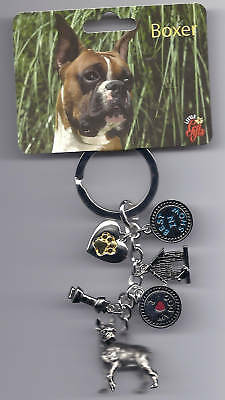 BOXER Dog 6 Charm Best In Show Keychain Key Ring New